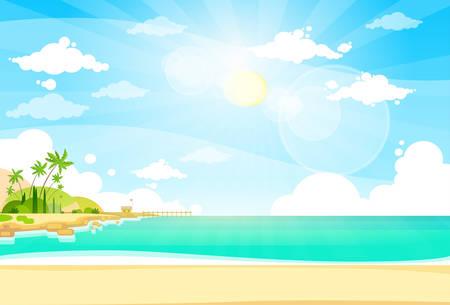 paradise beach: Sea Shore Sand Beach Summer Vacation Blue Sky Sun Vector illustration