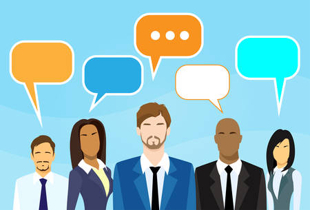 talking cartoon: Business Cartoon People Group Talking Discussing Chat Communication Social Network Flat Icon Vector Illustration Illustration
