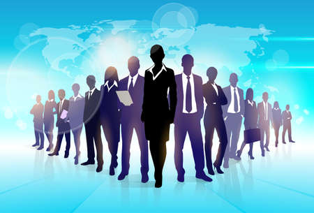 team leader: Business People Team Crowd Walk Black Silhouette Concept Businesspeople Group Human Resources over World Map Background Vector Illustration Illustration