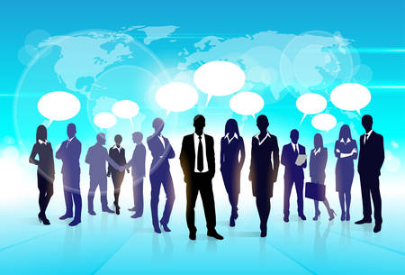 discussing: Business People Team Speech Communication Bubble Businesspeople Social Group Silhouette Talking Discussing Chat Flat Vector Illustration Illustration