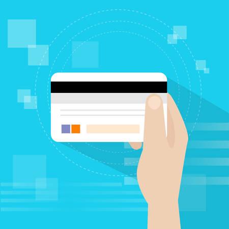 hold hand: Credit Bank Card Hold Hand Flat Vector Illustration