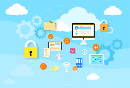 storage device: Computer Device Data Cloud Storage Security Flat Design Vector Illustration