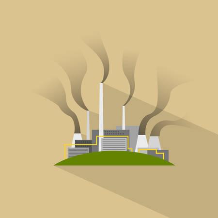 contaminacion aire: Fábrica Planta Piso Humo Ilustración Pipe Vector Icon