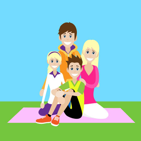 Happy Family, Parents With Children Love Smile Sitting Picnic Flat Vector Illustration