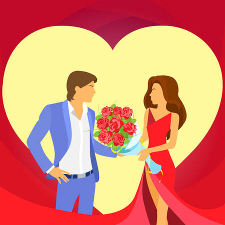 ramo de flores: Valentine Day Holiday Couple Heart Shape, Valentines Rose Bouquet Flowers Gift Card Vector Illustration