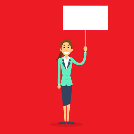 demonstrator: Businesswoman With White Board, Signboard, Showing An Empty Copy Space, Business Woman Cartoon Flat Vector Illustration Illustration
