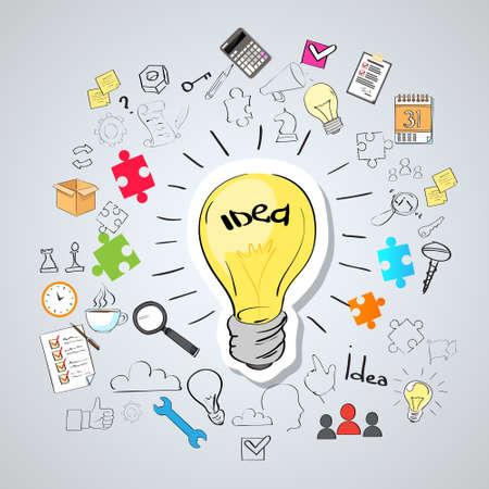 Gloeilampenidee Creative Concept Schets van de Krabbel Hand Trekt Achtergrond brainstormen Infographic Vector Illustratie