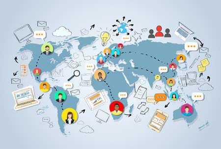 comunicar: Conexión de Medios de Comunicación Social del mapa del mundo del concepto de Internet Red de Personas Doodle de drenaje de la mano dibujo Ilustración del fondo del vector