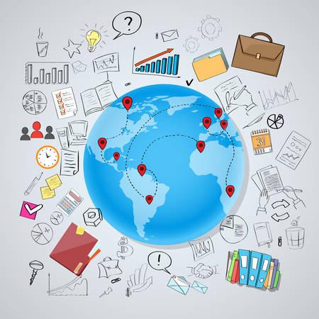 tecnología informatica: Globo de la tierra Red Social Internacional Mapa del Mundo Comunicación Global Concept Chatear Doodle Mano Dibuja Antecedentes Sketch ilustración vectorial