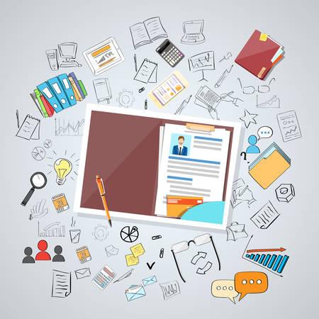 hoja de vida: Documentos de Recursos Humanos Curriculum Vitae Reclutamiento Candidato Trabajo Posición, CV Perfil Business People coches Concepto Doodle drenaje de la mano Sketch ilustración de fondo vector
