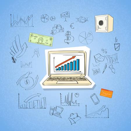 tecnología informatica: Carta de las finanzas del ordenador portátil del asunto Concepto Doodle Mano Dibuja Sketch ilustración de fondo vector