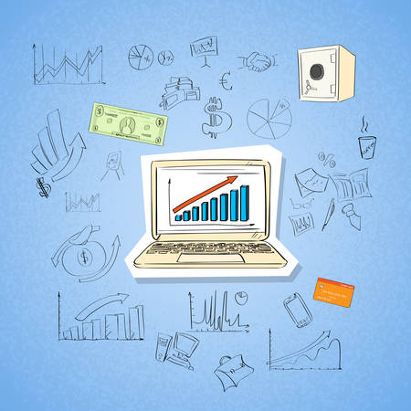 information icon: Laptop Finance Chart Business Concept Doodle Hand Draw Sketch Background Vector Illustration Illustration
