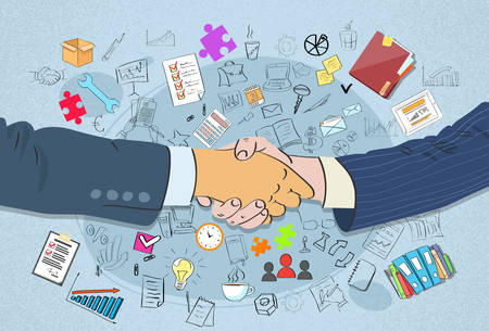 meet up: Handshake Concept Business Hands Shake Doodle Draw Sketch Background Vector Illustration Illustration