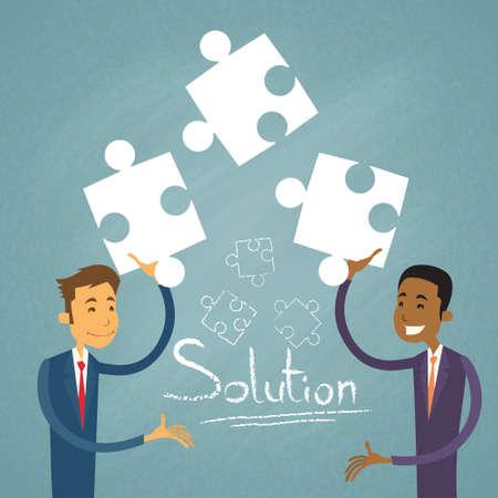 mix race: Business People Solution Solve Puzzle Two Businessman Mix Race Cooperation Collaboration Colleagues Retro Vector Illustration