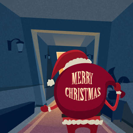 サンタ クロース漫画リア ビュー バック ギフト バッグ コピー スペース新年あけましておめでとうございます休日メリー クリスマス コンセプト レ