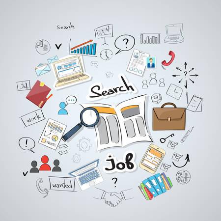 puesto de trabajo: De negocios que busca Periódico de empleo clasificados Lupa Concepto Doodle Mano Dibuja Antecedentes Sketch ilustración vectorial