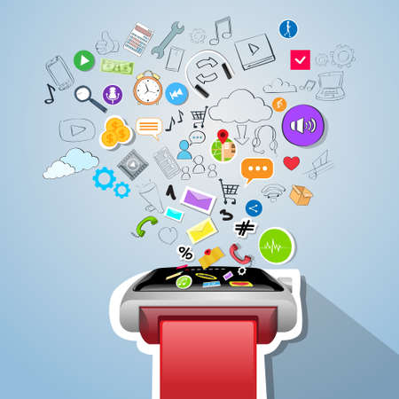 electronic device: Smart Watch Application Technology Electronic Device Apps Icons Concept Doodle Hand Draw Sketch Background Vector Illustration Illustration