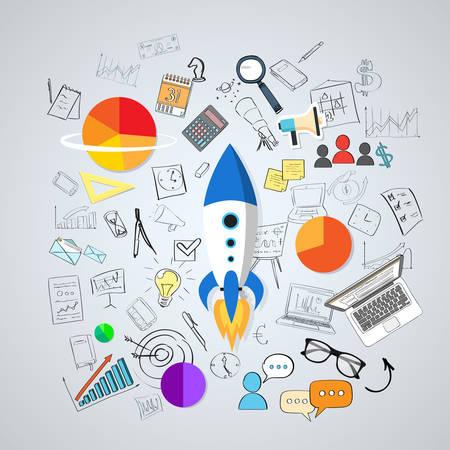 Start Up Concept New Business Plan Doodle Hand Draw Sketch Background Vector Illustration