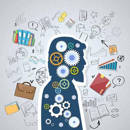 tecnología informatica: Empresario Hombre principal Silueta Cog rueda Doodle Mano Dibuja negocios Concepto Boceto de fondo Ilustración vectorial Vectores