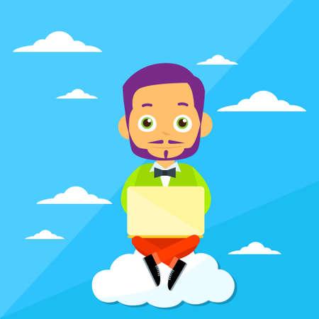 communication cartoon: Cartoon Man Sitting on Clouds Use Laptop Computer, Internet Communication Connection Concept Flat Vector Illustration