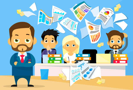 cartoon human: Business People Conflict Problem, Boss Team Working Throw Papers, Documents Fly Concept  Negative Emotion, Businesspeople Desk Office Flat Vector Illustration