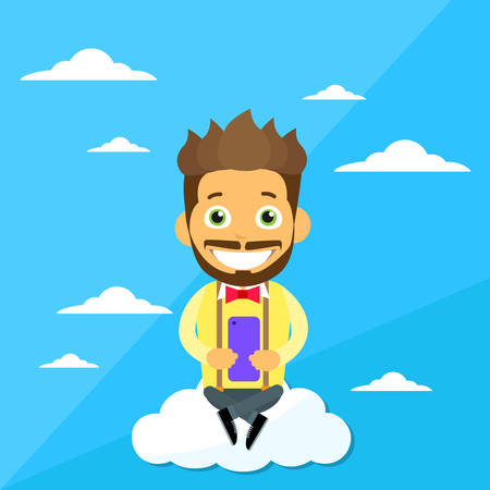 communication cartoon: Cartoon Man Sitting on Clouds Use Cell Smart Phone, Internet Communication Connection Concept Flat Vector Illustration Illustration