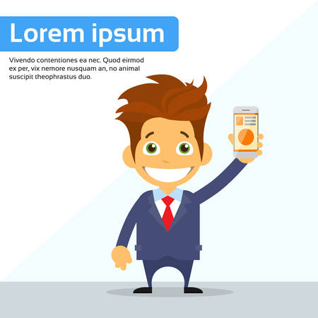 using smart phone: Businessman Cartoon Character Using Cell Smart Phone Flat Vector Illustration