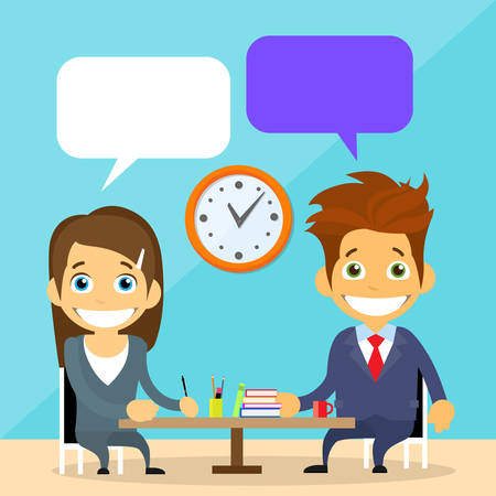 talking: Business People Man and Woman Talking Discussing Chat Communication Sitting at Office Desk Flat Vector Illustration