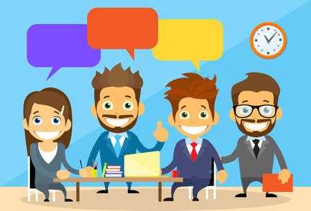 female boss: Business People Group Chat Communication Office Desk Concept Flat Vector Illustration