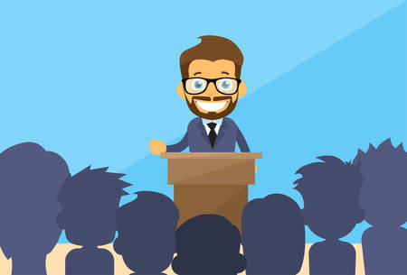 elections: Business Man Tribune Speech People Group Silhouettes Conference Meeting Business Seminar Flat Vector Illustration