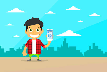 using smart phone: Cartoon Casual Man Character Using Cell Smart Phone Flat Vector Illustration