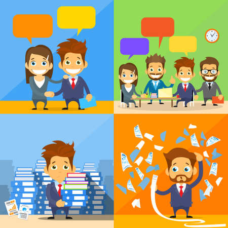 bill payment: Business People Concept Working Set Group Communication Handshake Financial Bill Payment Flat Vector Illustration Illustration