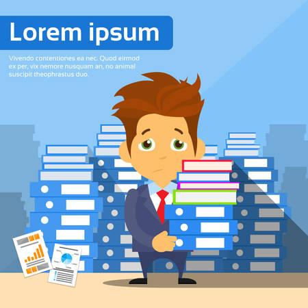 empresario triste: Sad Businessman Study Problem Hold Pile Stack Books, Lot of Work Concept Busy Business Man Flat Vector Illustration