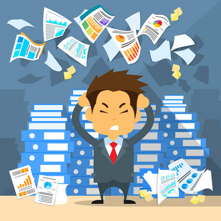 work stress: Business Man Throw Papers Hold Hands on Temples Head, Concept of Stressed Businessman Headache Problem Documents Fly Concept Negative Emotion Office Flat Vector Illustration