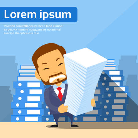 pile of documents: Businessman Pile Stack Paper Documents, Lot of Work Concept Busy Business Man Place Office Flat Vector Illustration Illustration