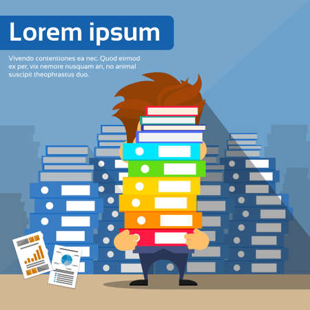 stack of books: Sad Businessman Study Problem Hold Pile Stack Books, Lot of Work Concept Busy Business Man Flat Vector Illustration