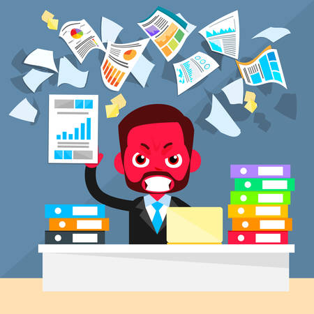 Business Man Red Face Problem, Throw Papers, Documents Fly Concept Negative Emotion, Businessman Desk Office Flat Vector Illustration