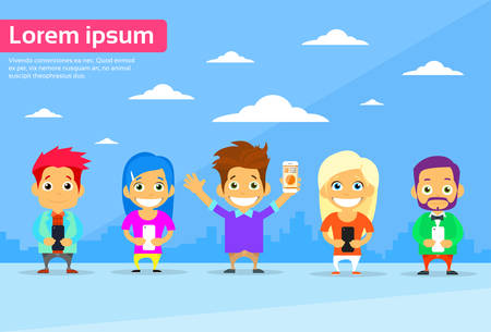 communication cartoon: Cartoon Man and Woman People Group Use Smart Phones Internet Communication Connection Concept Flat Vector Illustration