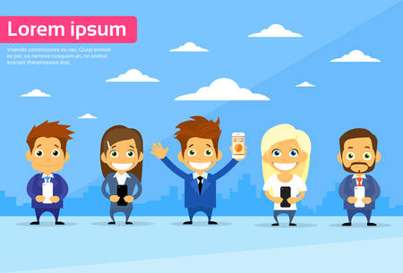 using smart phone: Business People Group Using Cell Smart Phone Call Internet Communication Flat Vector Illustration Illustration