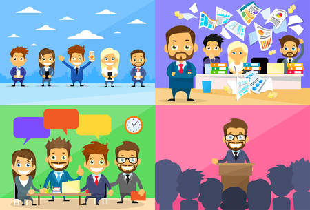 conflict: Business People Group Working Day Communication Conference Meeting Speech Chat Conflict Problem Concept Set Flat Vector Illustration