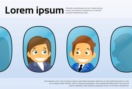 cabin attendant: Aircraft Windows Cartoon Business People Man Woman, Airplane Flight Concept Flat Vector Illustration Illustration
