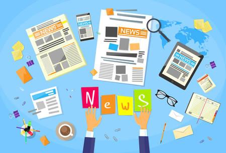 Noticias Editor Escritorio Espacio de trabajo, concepto Hacer Periódico Crear artículo Ilustración Periodistas escritura plana vectorial