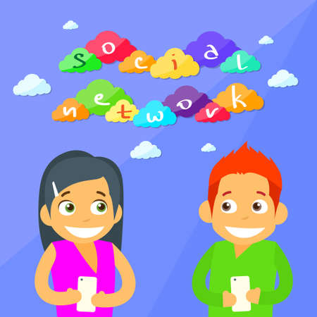 communication cartoon: Couple Message Using Cell Smart Phone Surfing Internet Social Network Chat Communication Cartoon Flat Vector Illustration