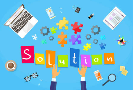 problem solution: Business Man Hands Making Puzzle Desk Solution Concept Flat Vector Illustration