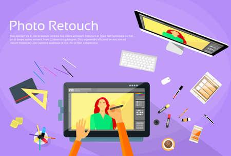 retouch: Graphic Designer Professional Tablet Drawing Photographer Portrait Photo Retouch Workspace Desk Computer Screen Flat Vector Illustration