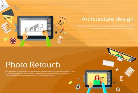 retouch: Architecture Designer Workplace Desk Big Digital Tablet Drawing Graphic Designer Professional Tablet Drawing Photographer Portrait Photo Retouch Flat Vector Illustration Illustration