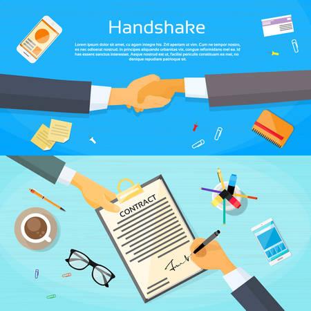 shake up: Handshake Businessman Contract Sign Up Paper Document, Business Man Hands Shake Pen Signature Office Desk Web Banner Flat Vector Illustration