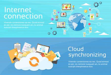 Internet Connection Cloud Synchronizing Computer Device Network Web Banner Set Flat Design Vector Illustration Illustration