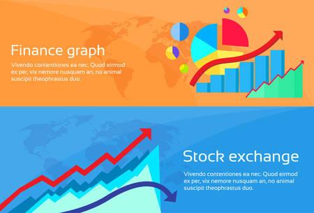 stock graph: Finance Graph Stock Exchange Chart Web Banner Set Flat Design Vector Illustration