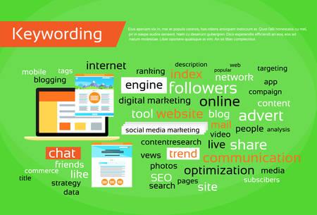 keywording: Keywording Search Engine Optimization Concept Research Keywords Seo Web Development Flat Vector Illustration